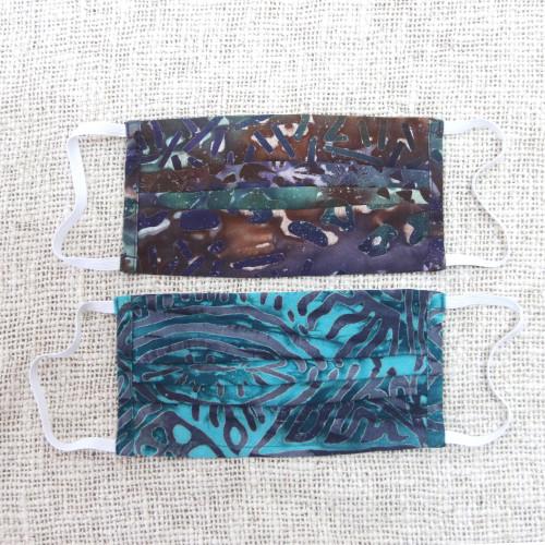 1 Russet1 Turquoise Hand Stamped Rayon Batik Face Masks 'Batik Mystique'