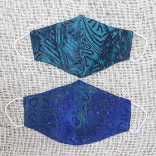 1 Green  1 Blue Extra Wide 2 Layer Rayon Batik Face Masks 'Balinese Ocean'