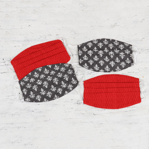 2 Red2 Grey Pleated 2-Layer Cotton Elastic Loop Face Masks 'Contempo Color'