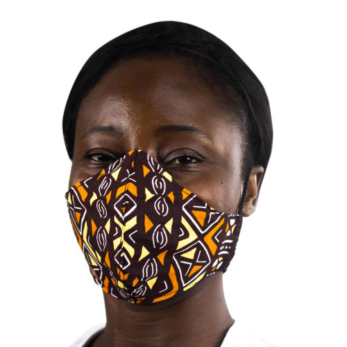 Geometric African Print Brown  Yellow Cotton Face Mask 'Warm Geometry'