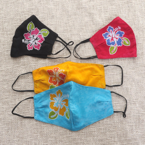 4 Hand-Painted Rayon Batik Contoured Cotton Face Masks 'Balinese Hibiscus'