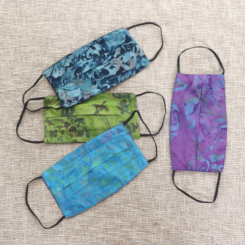 4 Handmade Abstract Rayon Batik Pleated 2-Layer Face Masks 'Tropical Beauty'
