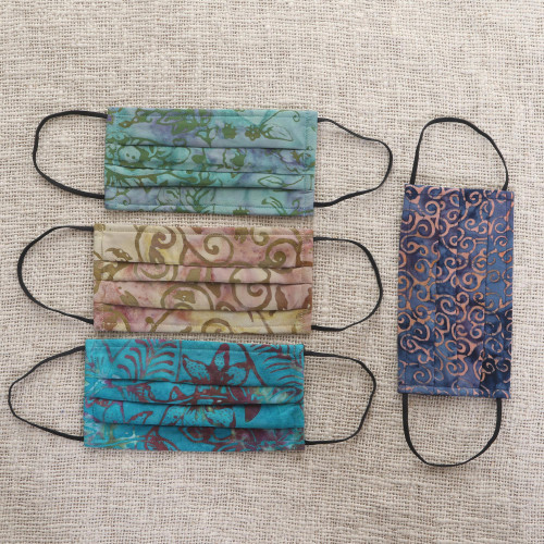 Set of 4 Batik Face Masks in Blue, Turquoise, Beige  Green 'Tropical Mystique'