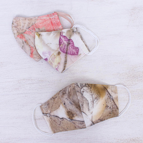 3 Thai Eco-Dyed Pastel Print 3-Layer Cotton Face Masks 'Nature's Blessings'