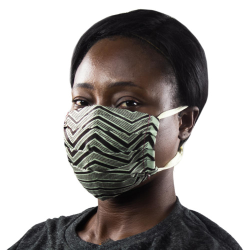 Brown and Beige African Print 2-Layer Cotton Face Mask 'Mahogany Paths'