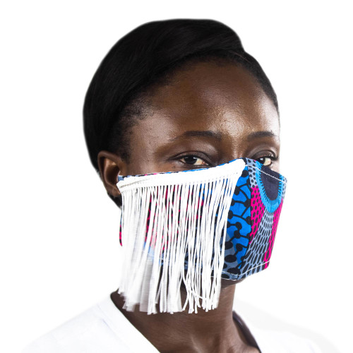African Print Elastic Headband Cotton Face Mask with Fringe 'Celebrate Life'