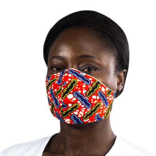 Red-Blue-Yellow African Print Elastic Headband Face Mask 'Protect Yourself'