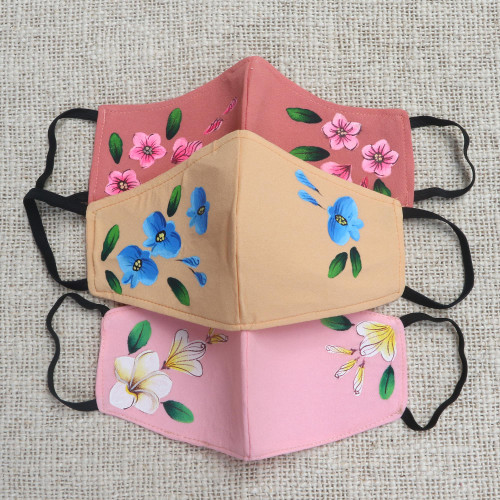 3 Hand-Painted Floral Crepe Face Masks 2 Pink1 Beige 'Floral Trio'