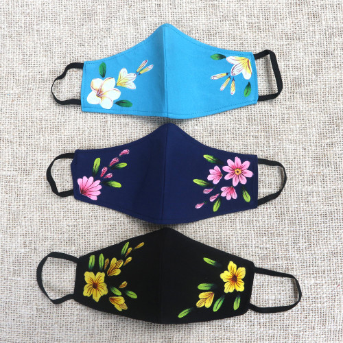 3 Hand-Painted Floral Crepe Face Masks Navy-Turquoise-Black 'Lovely Floral Trio'