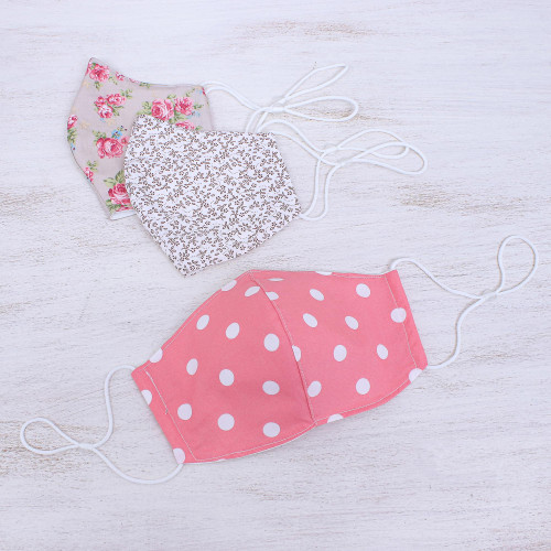 3 Pink-White-Sepia Print Ear Loop Cotton Face Masks Set 'Rosy Dots and Posies'