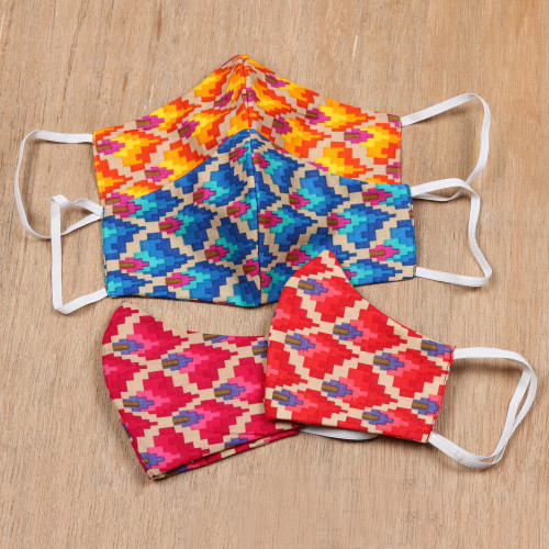 4 Cotton Print 2-Layer Elastic Loop Face Masks from India 'Vibrant Quartet'