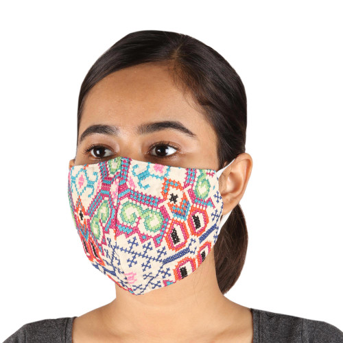 2 Handmade Colorful Cross Stitch Embroidered Face Masks 'Bright Thoughts'