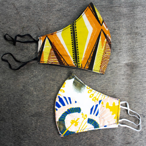 2 Yellow Cotton African Print Contoured Face Masks 'Beauty and Fashion'