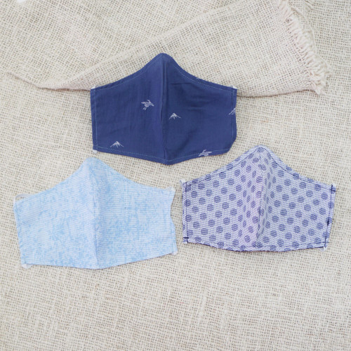 3 Filter Pocket Double Cotton Print Masks in Blue Shades 'Sky Inspiration'