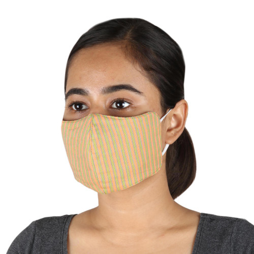 2 Contoured  1 Conical Green and Orange Stripe Cotton Masks 'Melon with Lime'