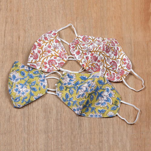 4 Handmade Block Print Double Layer Floral Cotton Masks 'Twining Vines'