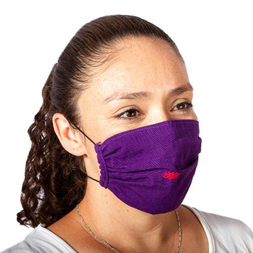 2 Handwoven 1-Layer Purple Cotton Headband Face Masks 'Bright Boysenberry'