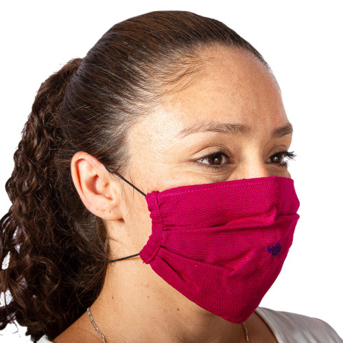 2 Handwoven 1-Layer Ruby Red Cotton Headband Face Masks 'Rich Ruby Red'