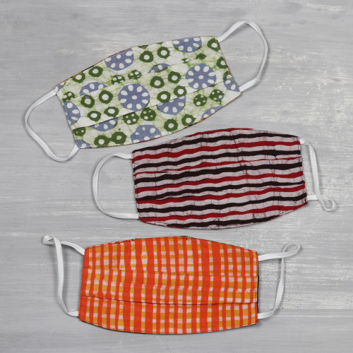 Set of 3 Reversible Block Print 2-Layer Pleated Cotton Masks 'Block Print Magic'