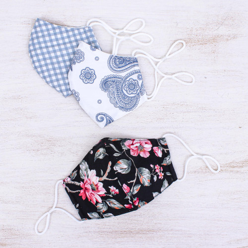 3 Thai Handmade Cotton Print Face Masks with Filter Pockets 'Lovely Spirit'