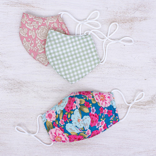 3 Handmade Floral  Gingham Cotton Masks with Filter Pockets 'Happy Spirit'