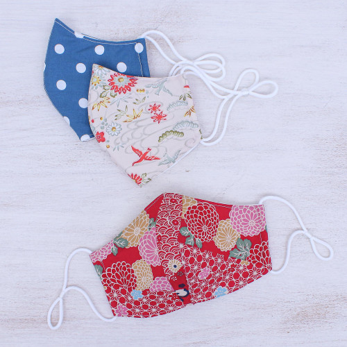 3 Handcrafted Cotton Print Filter Pocket Face Masks 'Cheerful Spirit'