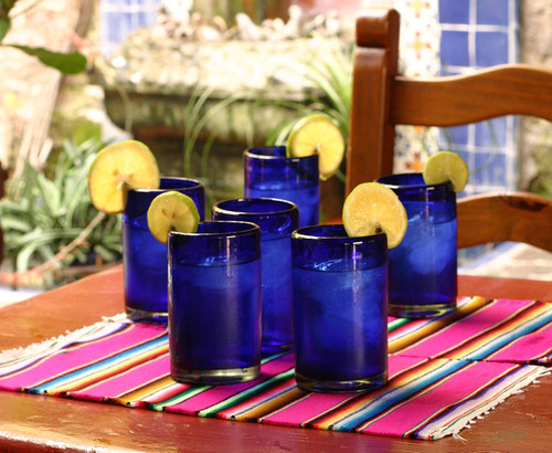 Handblown Glass Recycled Blue Tumblers Drinkware Set of 6 'Pure Cobalt'