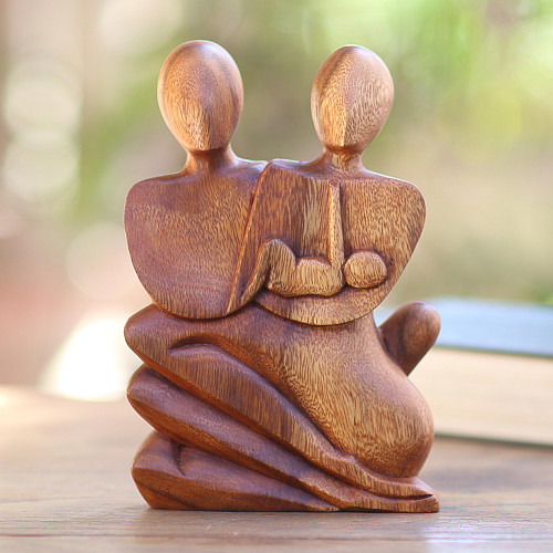 Unique Wood Sculpture from Indonesia 'Family Love'