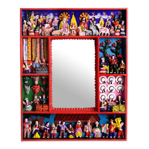 Fair Trade Folk Art Retablo Mirror 'Chapel of Bethlehem'