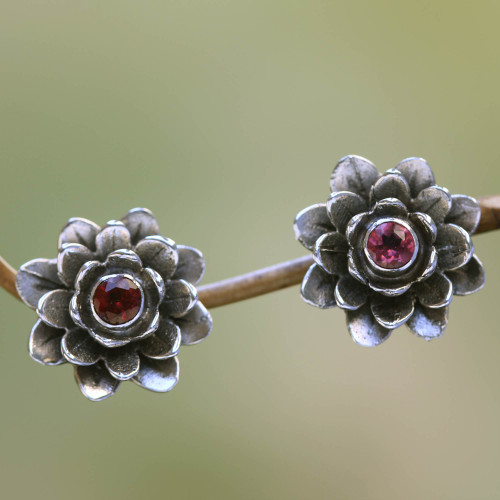 Floral Sterling Silver Garnet Earrings 'Red-Eyed Lotus'