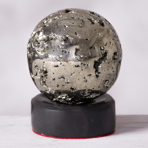 Pyrite Sphere Sculpture on Onyx Stand 'Reflections'