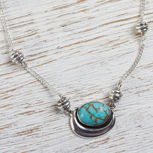 Sterling Silver Mexican Jewelry Pendant Necklace  'Blue Moon'