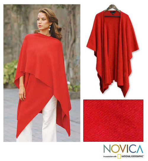 Alpaca Wool Blend Solid Shawl in Red 'Fire'