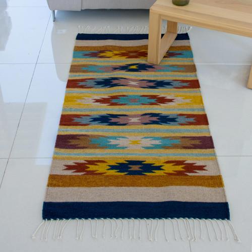 Zapotec wool rug 3x5 'Stars on the Horizon'