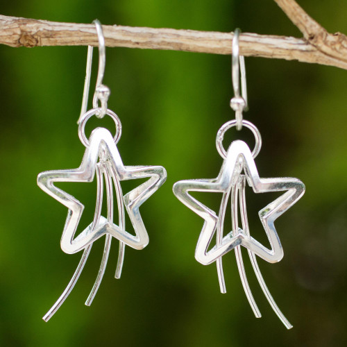 Sterling Silver Dangle Earrings 'Shooting Stars'