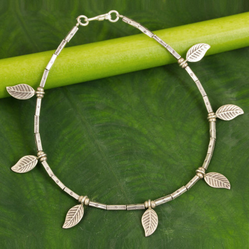 Hill Tribe Silver Anklet 'Autumn Medley'