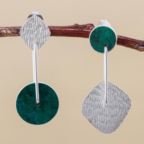 Unique Modern Sterling Silver Drop Chrysocolla Earrings 'Opposites Attract'