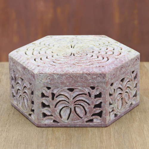Hand Carved Soapstone Jewelry Box 'Wings'