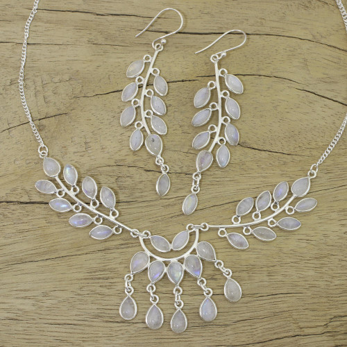 Rainbow Moonstone and Sterling Silver Jewelry Set 'Falling Leaves'