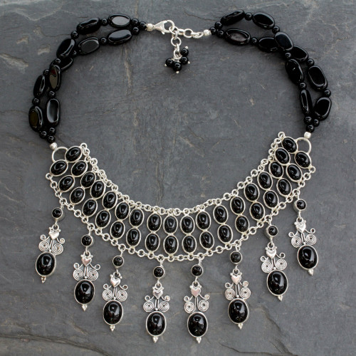 Hand Made Sterling Silver Onyx Necklace Indian Jewelry 'Black Lotus'