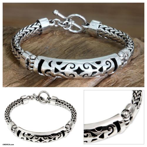 Sterling silver braided bracelet 'Blessing'