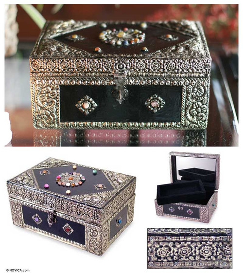 Hand Made Repousse Brass Jewelry Box 'Enchantment'
