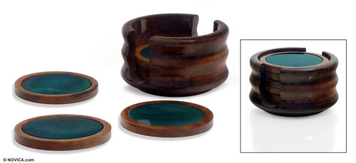 Hand Made Brazilian Agate Stone Coasters Set of 6 'Rainforest'