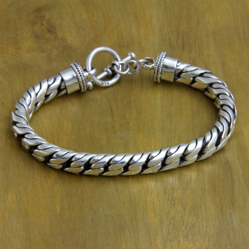 Sterling Silver Chain Bracelet 'Strength and Valor'