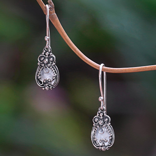 Sterling Silver and Moonstone Dangle Earrings 'Moon Flowers'