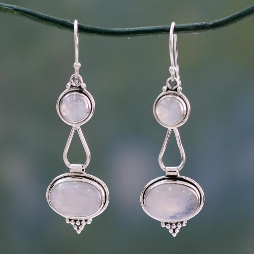 Rainbow Moonstone Earrings Sterling Silver Handmade 'Goddesses'
