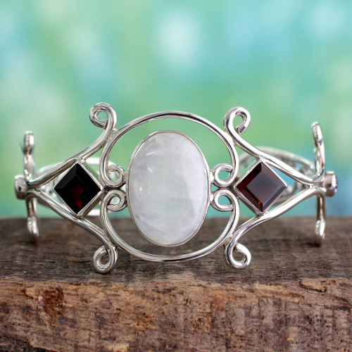 Moonstone Garnet and Amethyst Sterling Silver Cuff Bracelet 'Grace'