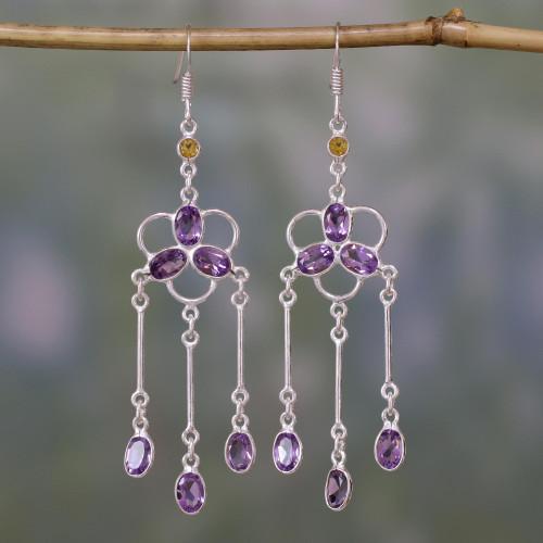 Amethyst and Citrine Waterfall Earrings 'Charisma'