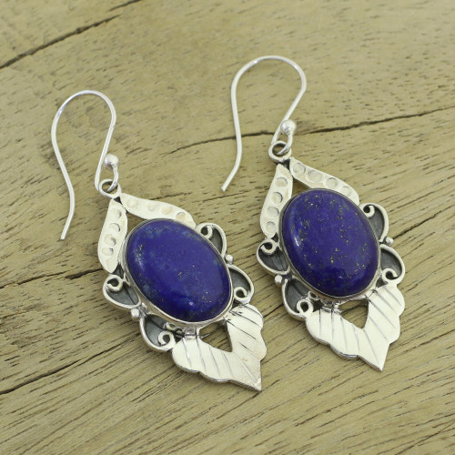 Fair Trade Sterling Silver and Lapis Lazuli Earrings 'Blue Lotus'