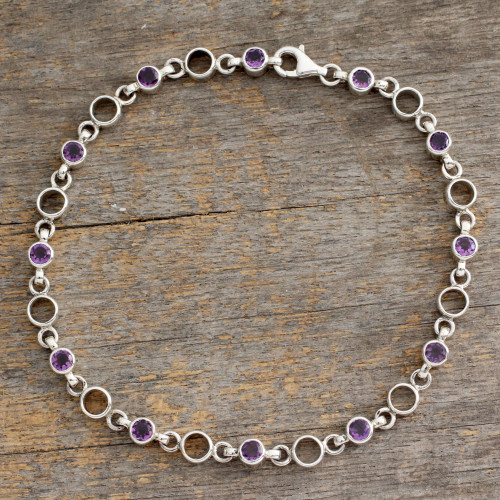 Fair Trade Jewelry Amethyst Sterling Silver Anklet 'Elegant Simplicity'